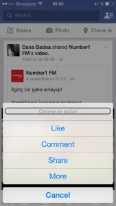 iPhone Facebook Menu